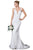 Cinderella Divine - EW202 Lace Deep V-neck Trumpet Dress Wedding Dresses 2 / Off White