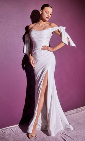 Cinderella Divine Bridals - CD944W Off Shoulder Trumpet Gown With Slit