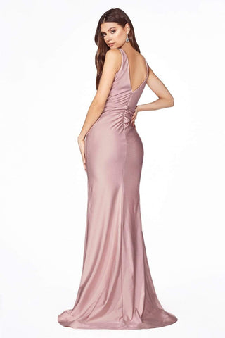 Cinderella Divine - C81730 Sleeveless V Neck High Slit Jersey Gown Bridesmaid Dresses 2 / Dusty Rose