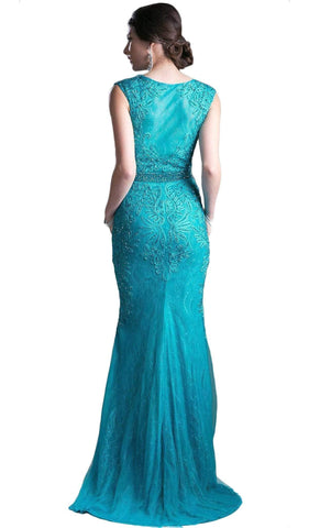 Cinderella Divine - Cap Sleeve Illusion Jewel Soutache Lace Evening Gown Special Occasion Dress 2 / Jade