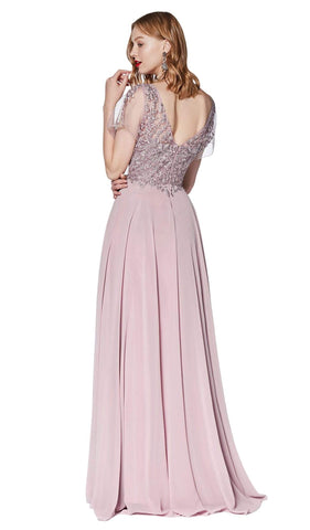 Cinderella Divine - CD0135 Lace V-neck Chiffon A-line Dress Special Occasion Dress XS / Mauve