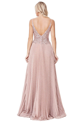 Cinderella Divine - CD0163 Lace Applique Deep V-neck A-line Gown Prom Dresses XXS / Dusty Rose