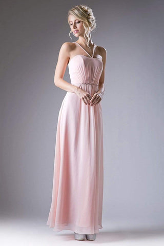 Cinderella Divine - CH529 Beaded Spaghetti Straps Chiffon A Line Gown Special Occasion Dress