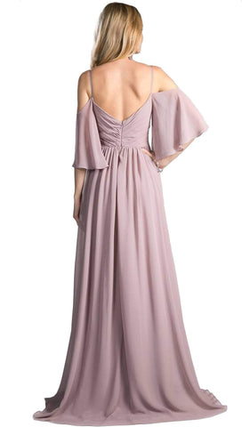 Cinderella Divine - CJ267 Cold Shoulders Flutter Sleeve Evening Dress Special Occasion Dress 2 / Mauve