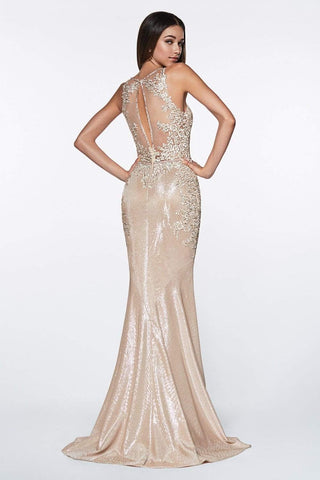 Cinderella Divine - CJ504 Plunging Floral Motif Metallic Mermaid Gown Special Occasion Dress 2 / Champagne