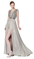 Tall A-line V-neck Beaded Back Zipper Cutout Slit Open-Back Illusion Sleeveless Metallic Plunging Neck Natural Waistline Geometric Print Dress with a Brush/Sweep Train With Rhinestones