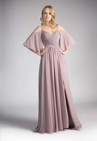 Cinderella Divine - Cold Shoulders Flutter Sleeve Evening Dress CJ267 - 1 pc Dusty Rose In Size 4 Available CCSALE 4 / Dusty Rose