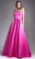 A-line Strapless Satin Back Zipper Beaded Pocketed Natural Waistline Straight Neck Floor Length Evening Dress/Prom Dress
