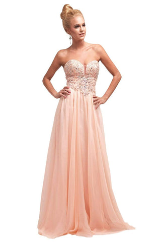 Cinderella Divine - JC902 Beaded Lace Deep Sweetheart Chiffon Dress Prom Dresses 2 / Peach