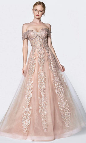 Cinderella Divine - KC19070 Embellished Lace Off-Shoulder Tulle Gown