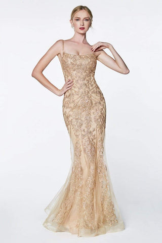 Cinderella Divine - KC885 Sleeveless Sparkly Beaded Lace Mermaid Gown Special Occasion Dress 4 / Champagne