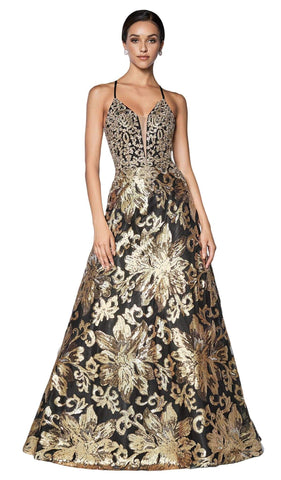 Cinderella Divine - ML923 Sequined Deep V-neck A-line Dress Special Occasion Dress S / Gold/Black