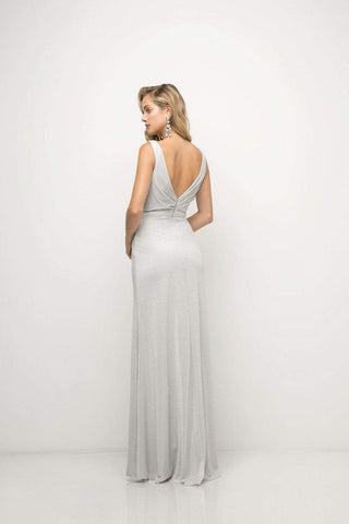 Cinderella Divine - Ruched V-neck Shimmer Fabric Sheath Dress Special Occasion Dress XS / Silver