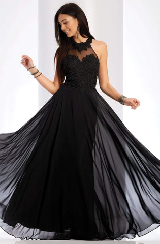 Clarisse - 3528 Jeweled Lace Applique Halter Gown Special Occasion Dress 0 / Black