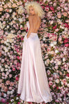Sophisticated A-line Sleeveless Floor Length Natural Princess Seams Waistline Slit Open-Back Lace-Up Pocketed Fitted Halter Dress with a Brush/Sweep Train