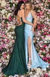 Sexy V-neck Mermaid Floor Length Plunging Neck Natural Princess Seams Waistline Sleeveless Spaghetti Strap Fall Slit Fitted Lace-Up Glittering Open-Back Dress with a Brush/Sweep Train