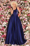 Sophisticated Natural Waistline Fitted Pocketed Cutout Back Zipper Glittering Pleated Halter Sleeveless Evening Dress