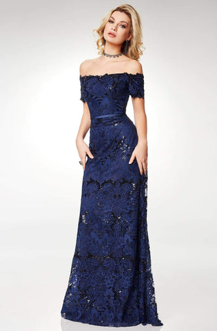 Clarisse - M6520 Off-Shoulder Lace Short Sleeves Evening Dress