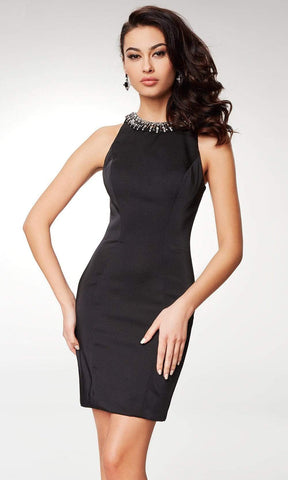 Clarisse - M6567 Crystal Beaded Halter Satin Sheath Dress