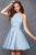 Clarisse - S3489 Embellished Halter Satin A-line Dress Special Occasion Dress 0 / Powder Blue