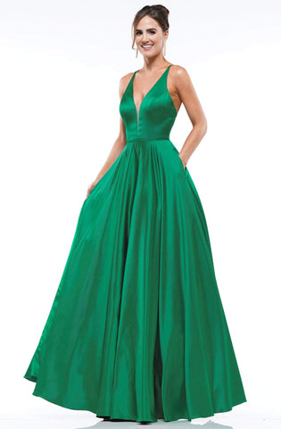 Colors Dress - 2183 Illusion Plunging Neck Satin A-Line Gown