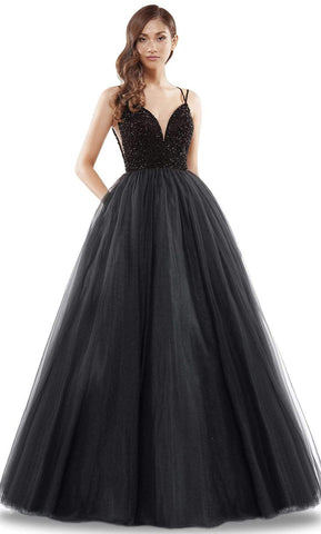 Colors Dress - 2382 Beaded Plunging Sweetheart Ballgown