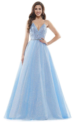 Colors Dress - 2480 Glitter Plunging V Neck Ballgown