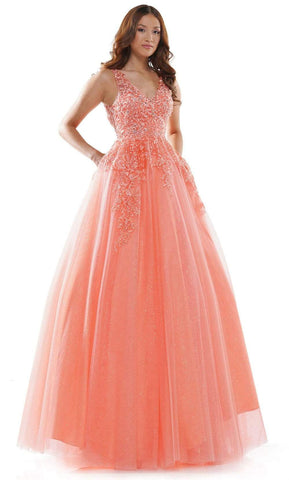 Colors Dress - 2615 Lace V Neck Ballgown