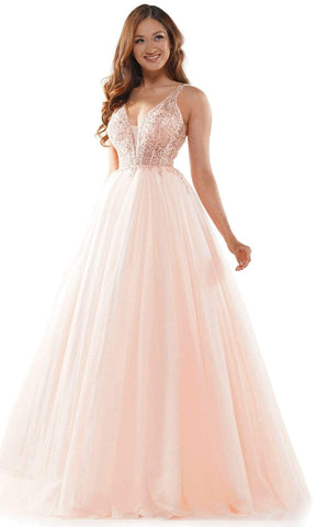Colors Dress - 2619 Lace Plunging V Neck Ballgown