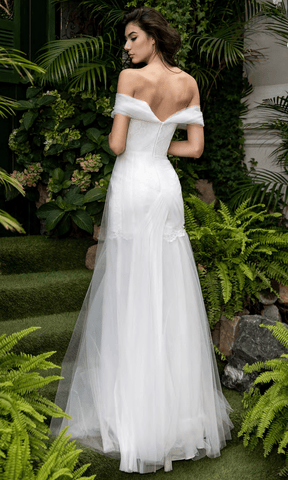 Cristallini - SKA1066 Off Shoulder Pleated A-Line Dress Wedding Dresses XS / Ivory