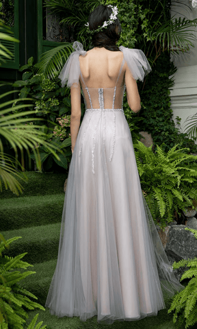 Cristallini - SKA1068 Beaded Sweetheart Illusion A-Line Dress Evening Dresses XS / Silver/Light Grey