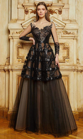 Cristallini - SKA1123 Sequined Illusion Long Sleeve A-Line Gown Evening Dresses XS / Black/Nude