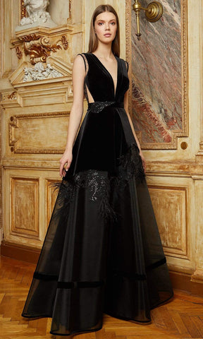 Cristallini - SKA1130 Feather Ornate Velvet Long Gown