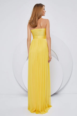 Cristallini - SKA1151 Sweetheart Bodice Ruched Silk Tulle A-Line Gown Evening Dresses XS / Yellow