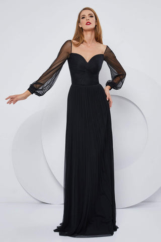 Cristallini - SKA1152 Illusion Long Sleeve Silk Tulle A-Line Gown Evening Dresses XS / Black