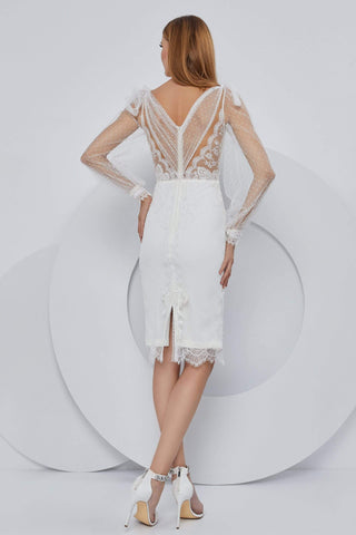 Cristallini - SKA1161 Bell Sleeve Embroidered Sheath Dress Cocktail Dresses XS / Ivory