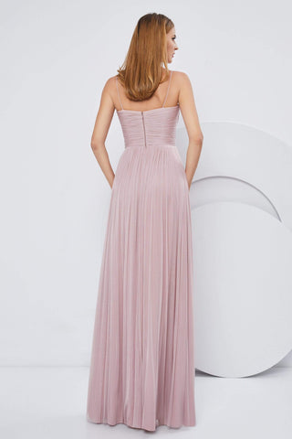 Cristallini - SKA1164 Spaghetti Strap Shirred Accented A-Line Dress Evening Dresses XS / Zink-Light Pink