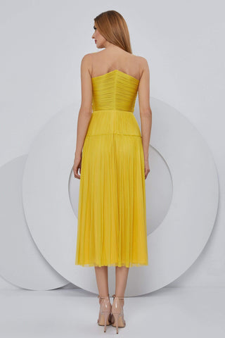 Cristallini - SKA1187 Plunging V Neck Pleated A-Line Dress Cocktail Dresses XS / Yellow