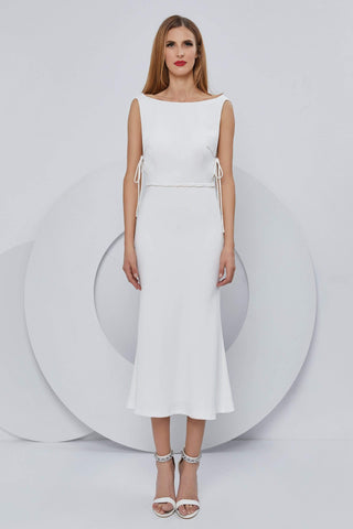 Cristallini - SKA1196 Bateau Off Shoulder Cocktail Dress Evening Dresses XS / Ivory