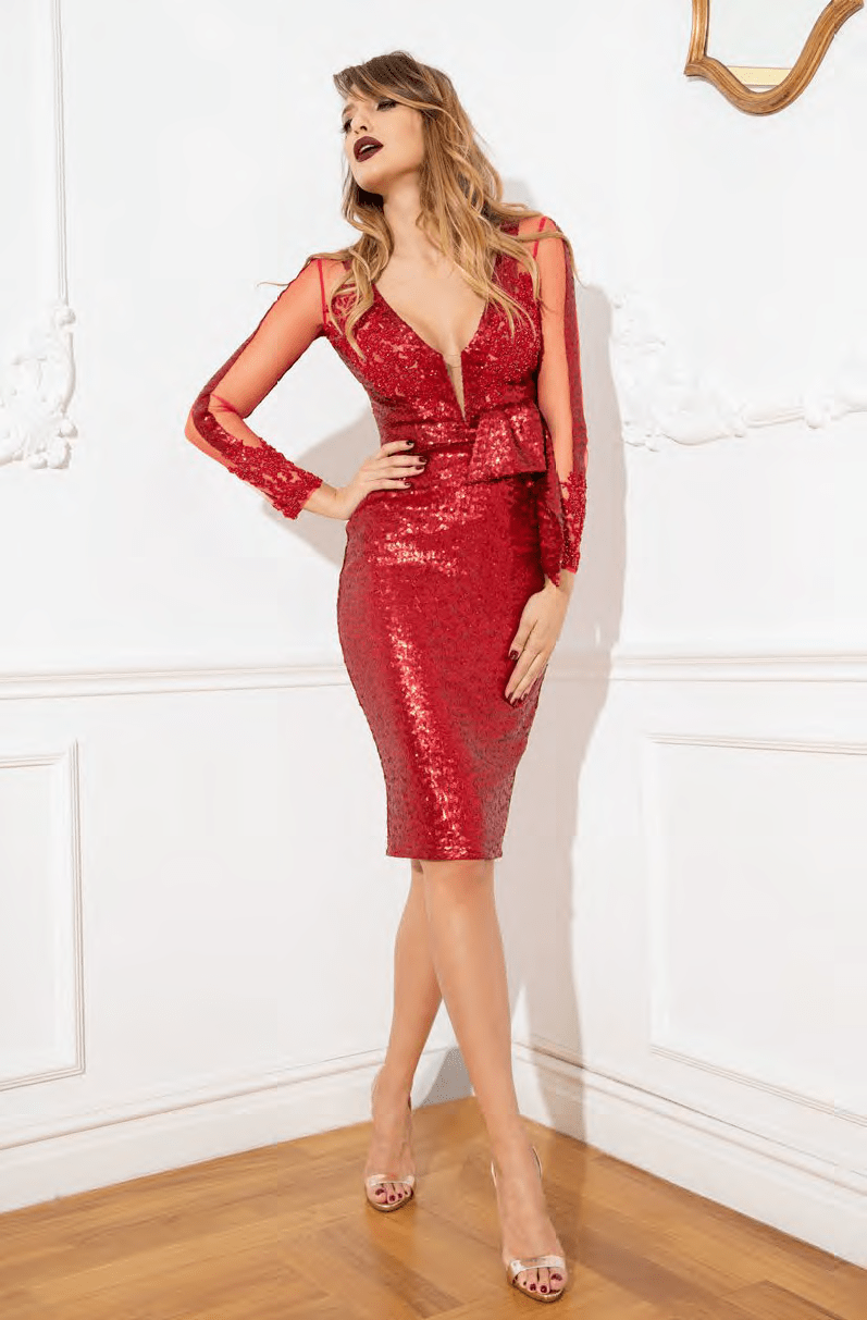 Sophisticated V-neck Above the Knee Long Sleeves Sheath Plunging Neck Lace Back Zipper Illusion Beaded Sequined Slit Sheer Applique Natural Waistline Sheath Dress With a Bow(s) and a Ribbon