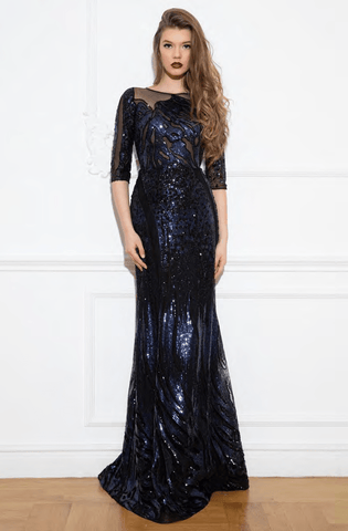 Cristallini - SKA941 Sequined Illusion Jewel A-Line Gown