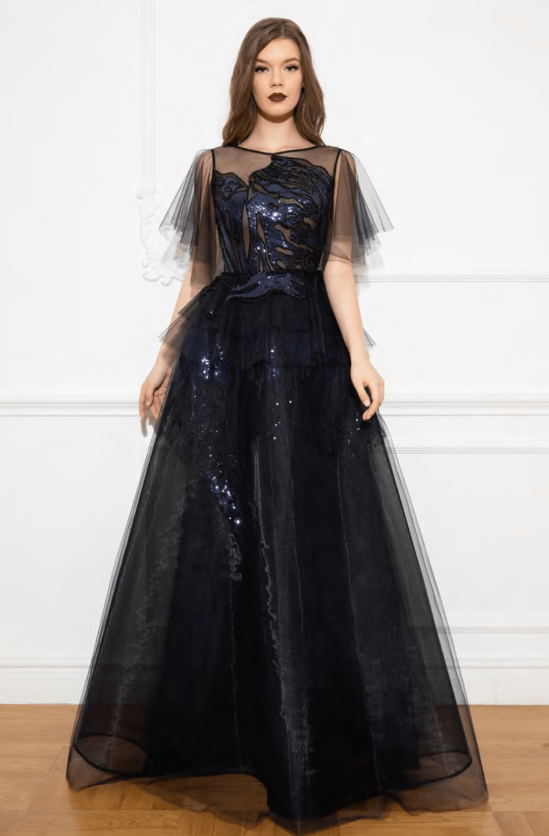 A-line Floor Length V Back Sheer Pleated Sequined Jeweled Back Zipper Peplum Fitted Illusion Natural Waistline Jeweled Neck Sheer Elbow Length Sleeves Dress