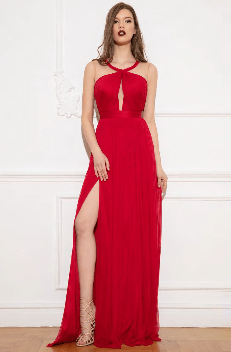 A-line Sleeveless Floor Length Cutout Fitted Keyhole Slit Ruched Illusion Mesh Sheer Scoop Neck Elasticized Natural Waistline Evening Dress