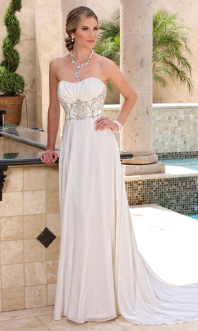 Da Vinci Bridal - 50365 Semi-sweetheart Beaded Long Dress Wedding Dresses