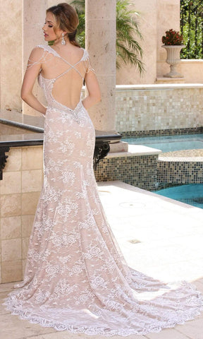 Da Vinci Bridal - 50369 Sleeveless Beaded Lace Mermaid Wedding Dress Special Occasion Dress