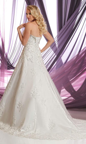 Da Vinci Bridal - 50389 Embellished Floral Strapless A-line Gown Wedding Dresses