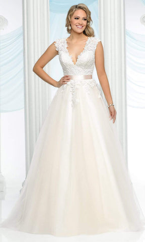 Da Vinci Bridal - 50431 V-Neck Lace and Tulle A-Line Wedding Gown Special Occasion Dress