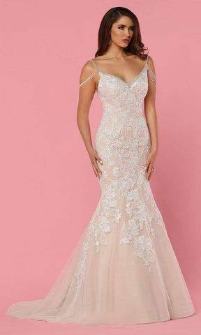 Da Vinci Bridal - 50462 Beaded Strap and Lace Mermaid Wedding Gown