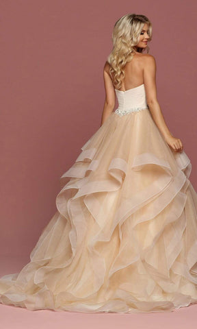 Da Vinci Bridal - 50489 Strapless Sweetheart Tiered Tulle Ballgown Special Occasion Dress