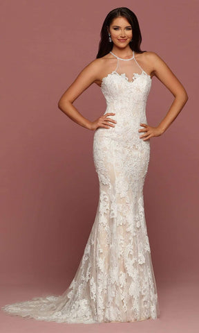 Da Vinci Bridal - 50500 Illusion Halter Neck Lace Applique Tulle Gown Special Occasion Dress